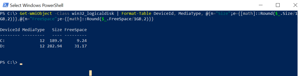 win32_logicaldisk - get disk space