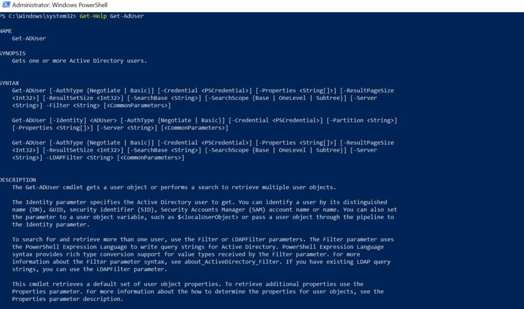 Get-AdUser in Active Directory
