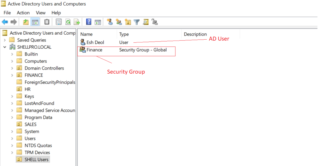 ADUC - Security Groups in Active Directory