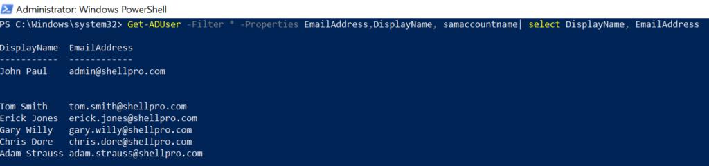 PowerShell Get-Aduser User Email Address