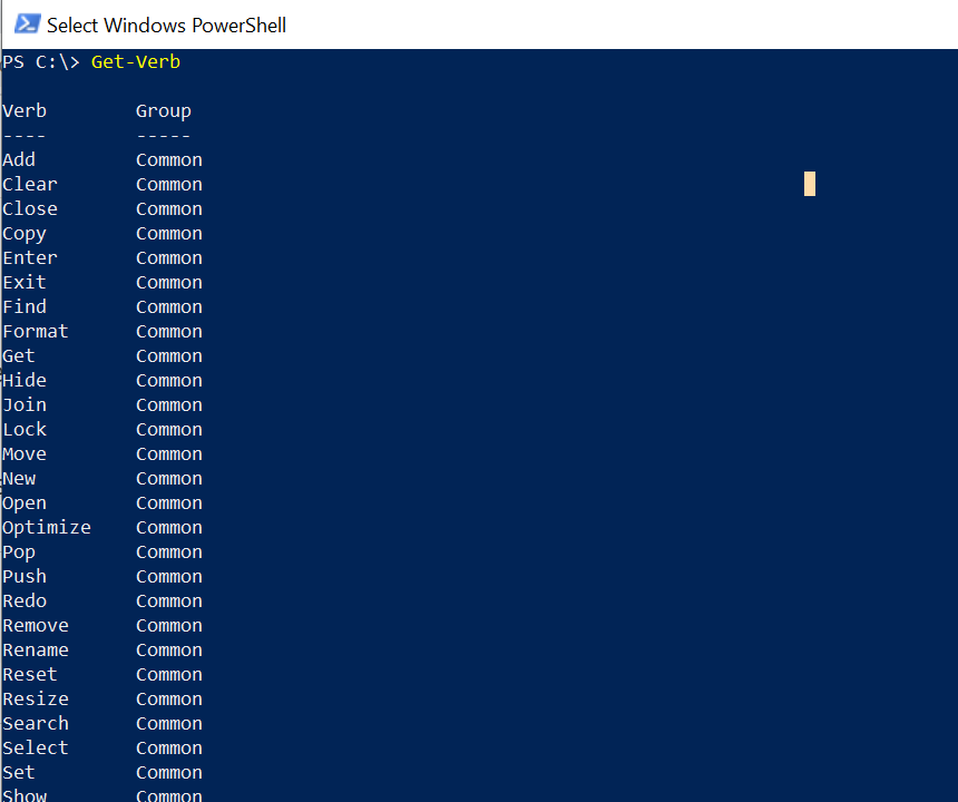 PowerShell Approved Verbs