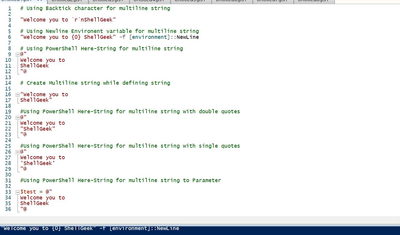 PowerShell Multiline String   ShellGeek