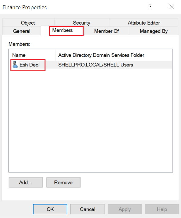 Security ADGroup aduser