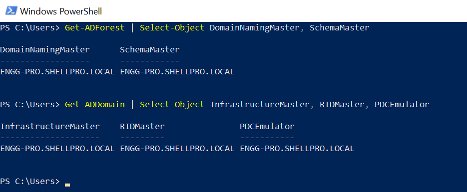 PowerShell Get FSMO Roles